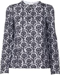 Suno Black And White Embroidered Top black - Lyst