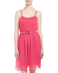 Alice + Olivia Claudia Belted Gathered Dress - Lyst