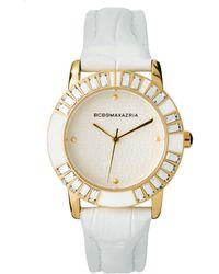 BCBGMAXAZRIA - Bcbg Ladies Slim Leather Faux Crocodile Strap Watch with Gold Case - Lyst