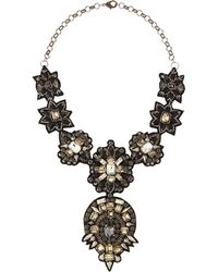 Deepa Gurnani Black Beaded Bib Necklace - Lyst