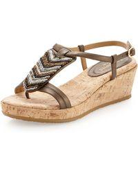 Eric Javits - Powwow Beaded Cork Sandal Bronze - Lyst