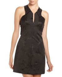 Robert Rodriguez Jacquard Floral Crisscrossback Dress Black - Lyst