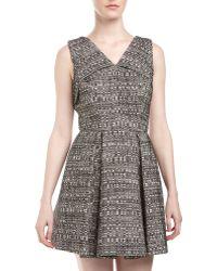 Robert Rodriguez Tweed Origamifold Dress Ivory 2 gray - Lyst
