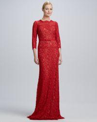 Tadashi Shoji Twotone Lace Combo Gown - Lyst