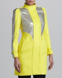 Versace Yellow Sequinpanel Coat - Lyst