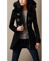 Burberry Detachable Hood Fur Trim Fitted Duffle Coat - Lyst