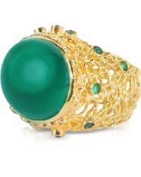 Isharya - Green Onyx Moon Bali Filigree Ring - Lyst