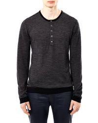 John Varvatos Stripe Henley Sweater - Lyst
