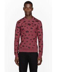 Kris Van Assche - Heather Red Eagle Print Sweatshirt - Lyst