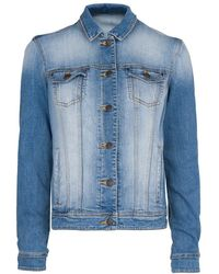 Mango Medium Wash Denim Jacket - Lyst