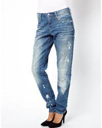 Asos Brady Slim Boyfriend Jeans in Rip Repair Vintage Wash - Lyst