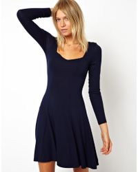 Free People Dress with Sweetheart Neck and Long Sleeve - Lyst