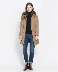 Zara Semi Long Puffer Anorak - Lyst