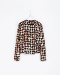Zara Houndstooth and Floral Print Jacket - Lyst