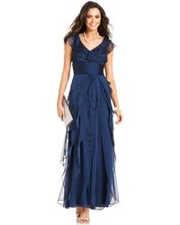 Adrianna Papell Tiered Evening Dress - Lyst
