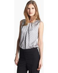 Jones New York Collection Abby Dotted Pleat Neck Blouse - Lyst