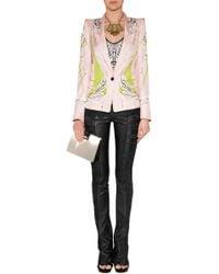 Roberto Cavalli One Button Silk Blazer In Yellow/Pink-Multi - Lyst