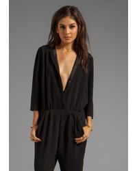 By Malene Birger Drapy Crepe Neemi Jumpsuit in Black - Lyst