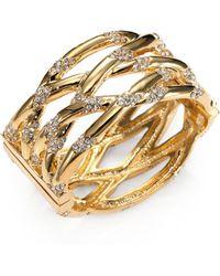Kara Ross - 18k Goldplated Crystaldetailed Cuff Bracelet - Lyst