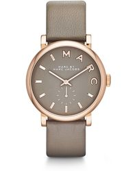 Marc By Marc Jacobs Baker Rose Goldtone Stainless Steel & Leather Strap Watch/Grey - Lyst