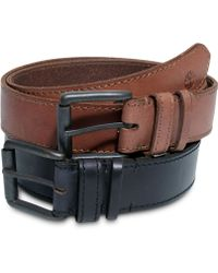 Timberland Hand Stained Leather with Edge Stitching Belt - Lyst