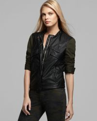 Two By Vince Camuto - Contrast Faux Leather Military Jacket - Lyst