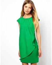 Ted Baker Dress with Asymmetric Frill - Lyst