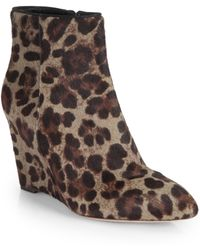 B Brian Atwood - Bellaria Leopard-print Pony Hair Wedge Ankle Boots - Lyst