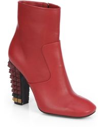 Fendi Leather Spikedheel Ankle Boots - Lyst