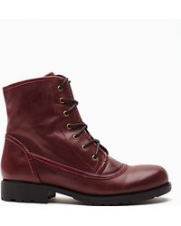 Nasty Gal Converge Combat Boot red - Lyst