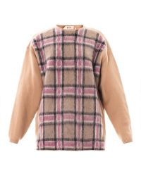 No 21 Check Print Lambs Wool Sweater - Lyst
