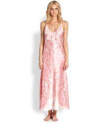 Oscar de la Renta Long Printed Chantilly Gown - Lyst