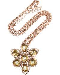 Oscar de la Renta Rose Gold-plated Crystal Necklace - Lyst