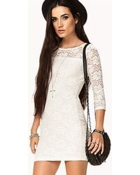 Forever 21 Floral Lace Bodycon Dress - Lyst