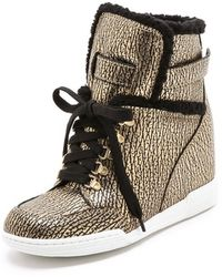 Marc By Marc Jacobs Sherpa Lined Metallic Wedge Sneakers - Lyst