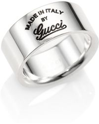 Gucci Sterling Silver Gg Craft Ring - Lyst