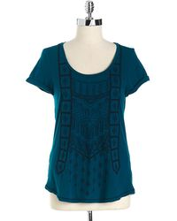 Lucky Brand Embroidered Cotton Top - Lyst