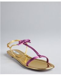 Prada Lilac And Gold Satin And Leather Flat Sandals purple - Lyst