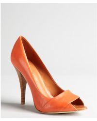 Rebecca Minkoff Mango Leather Peeptoe Wooden Heel Elisavette Pumps - Lyst