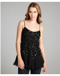 RED Valentino Black Sequined Pleated Detail Tank - Lyst