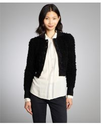 RED Valentino Black Shag Wool Cropped Jacket - Lyst