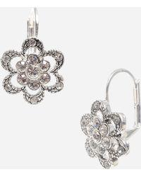 Betsey Johnson Pavé Flower Drop Earrings - Lyst