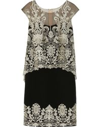 Notte by Marchesa Embroidered Silk crepe and Tulle Dress - Lyst