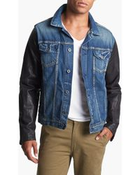 Scotch & Soda Denim Jacket with Leather Sleeves - Lyst