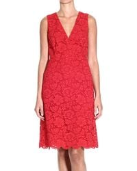 Valentino Dress Sleeveless Lace Crossed red - Lyst
