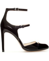 Zara High Heel Court Shoe with Straps - Lyst
