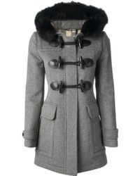 Burberry Brit - Fox Fur Collar Coat - Lyst