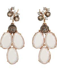 Federica Rettore - Diamond Rose Quartz Triple Drop Earrings - Lyst