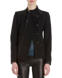 Helmut Lang Belted Collar Leather Trimmed Jacket - Lyst