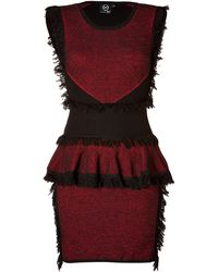 McQ by Alexander McQueen Wool-cashmere Fringe Peplum Dress - Lyst